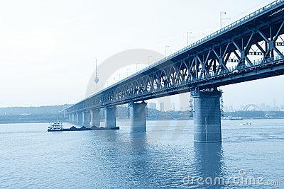 The Yangtze River Steel Bridge In Wuhan City Stock Photo.