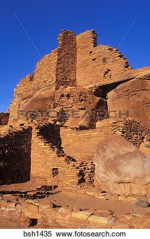 Stock Image of Morning light on Wupatki Ruin (Anasazi), Wupatki.
