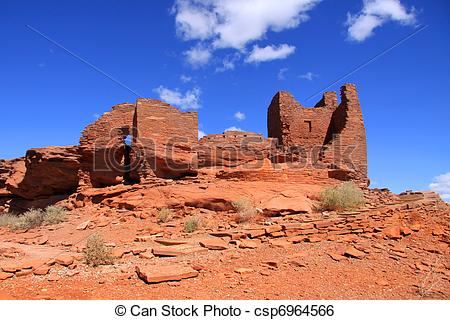 Stock Image of Wukoki Ruins complex in Wupatki national monument.