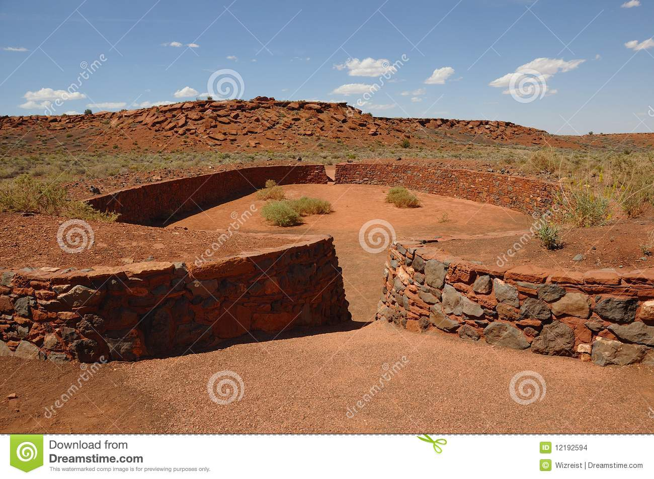 Ball Court At Wupatki National Monument Stock Images.
