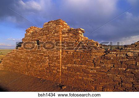 Stock Photo of Evening light on Lomaki Ruins (Anasazi), Wupatki.