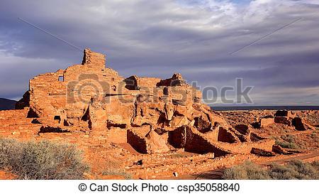 Stock Photo of Wupatki Pueblo Ruins in Arizona.