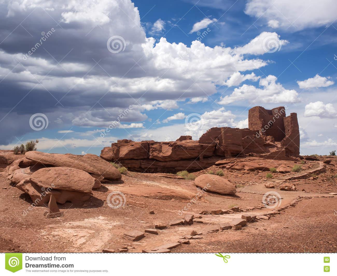Wukoki Ruins Complex In Wupatki National Monument, Arizona Stock.