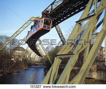Picture of Suspension monorail over bridge, Wuppertal Schwebebahn.