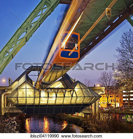 Stock Photography of Wuppertal Suspension Railway at the station.