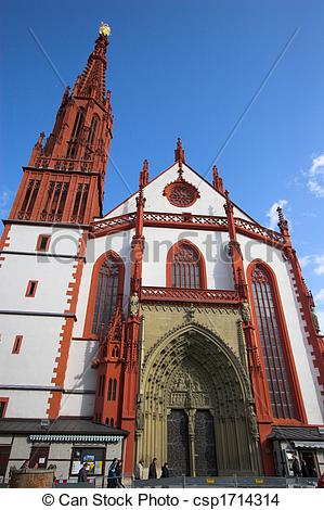Stock Photo of Wurzburg red church fa�ade.
