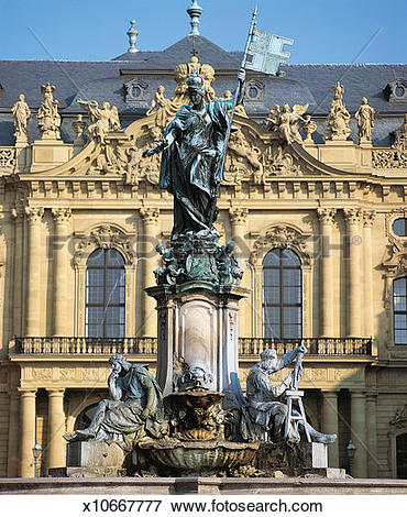 Picture of Fountain, Wurzburg Residenz, Wurzburg, Bavaria, Germany.