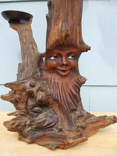 German Wurzelsepp Candle Stick Root Carving Green Man Gnome Tree.