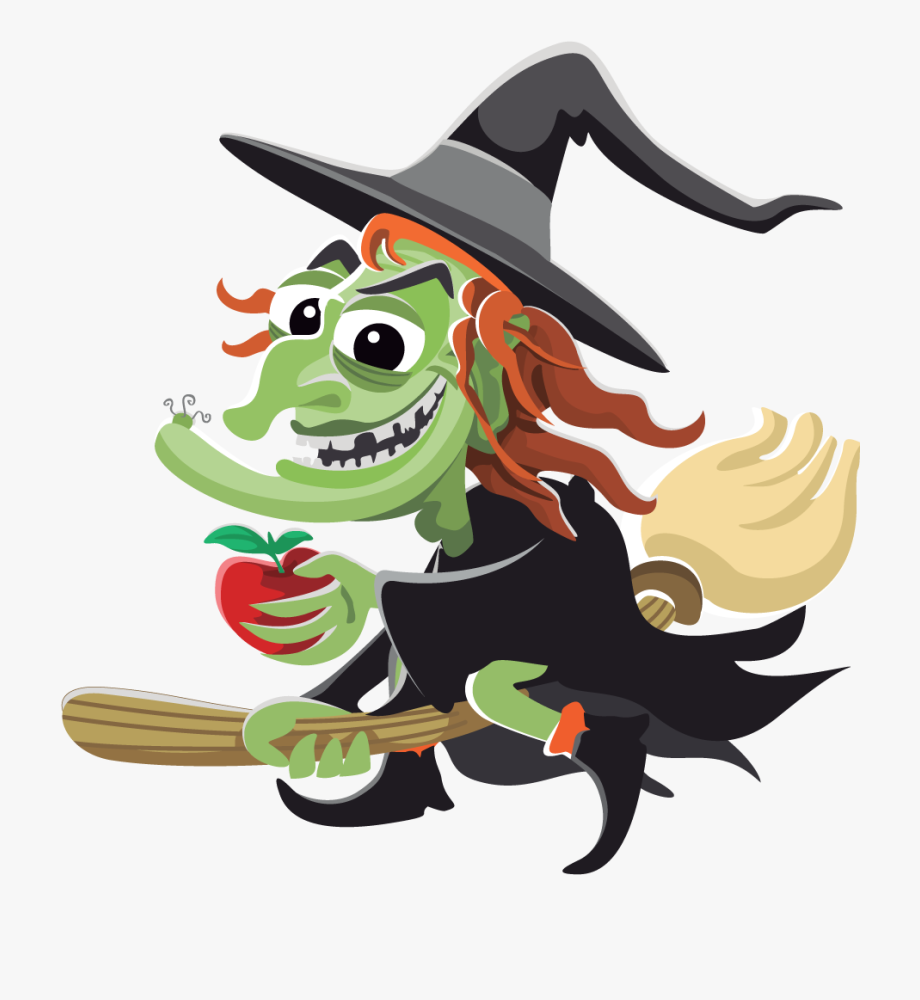 Fun Halloween Witch Clipart Kid.
