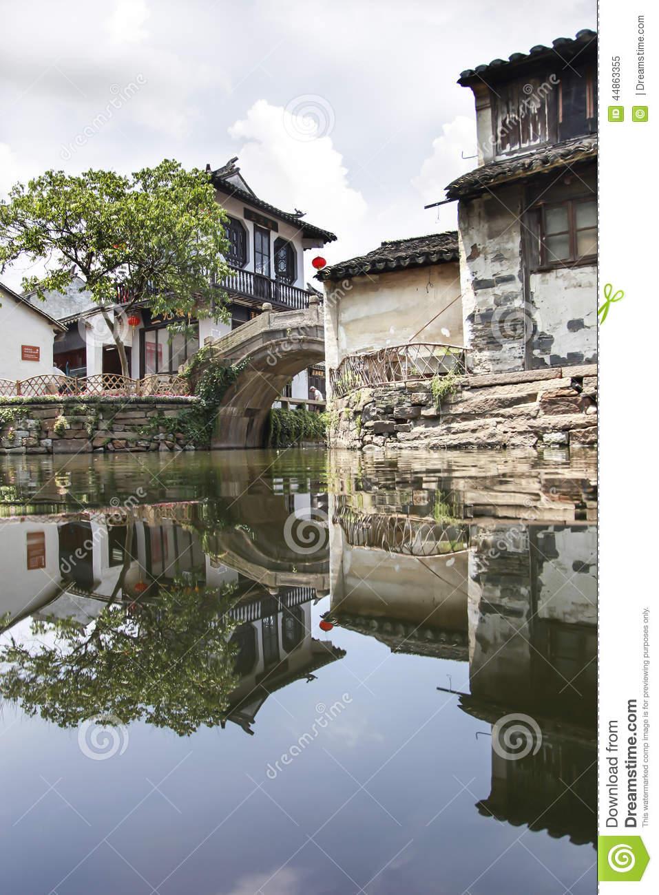 Reflect Of Old Building In Hangzhou Wuzhen Water Town, Zhejiang.