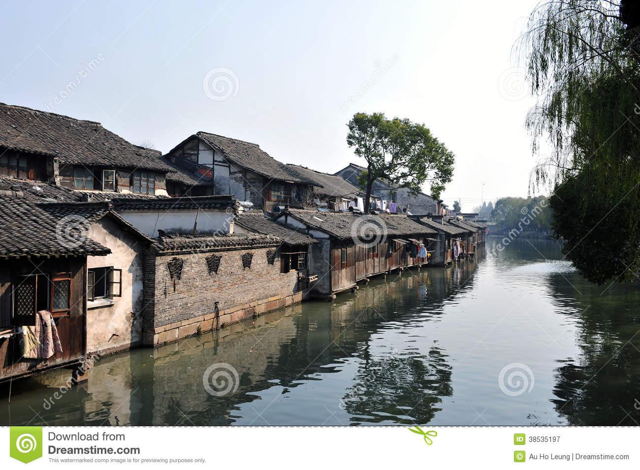 Beautiful Chinese Water Town, Wuzhen Suzhou Jiangsu China Royalty.
