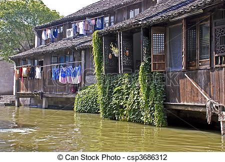 Stock Photo of House in the water town of Wuzhen, China.