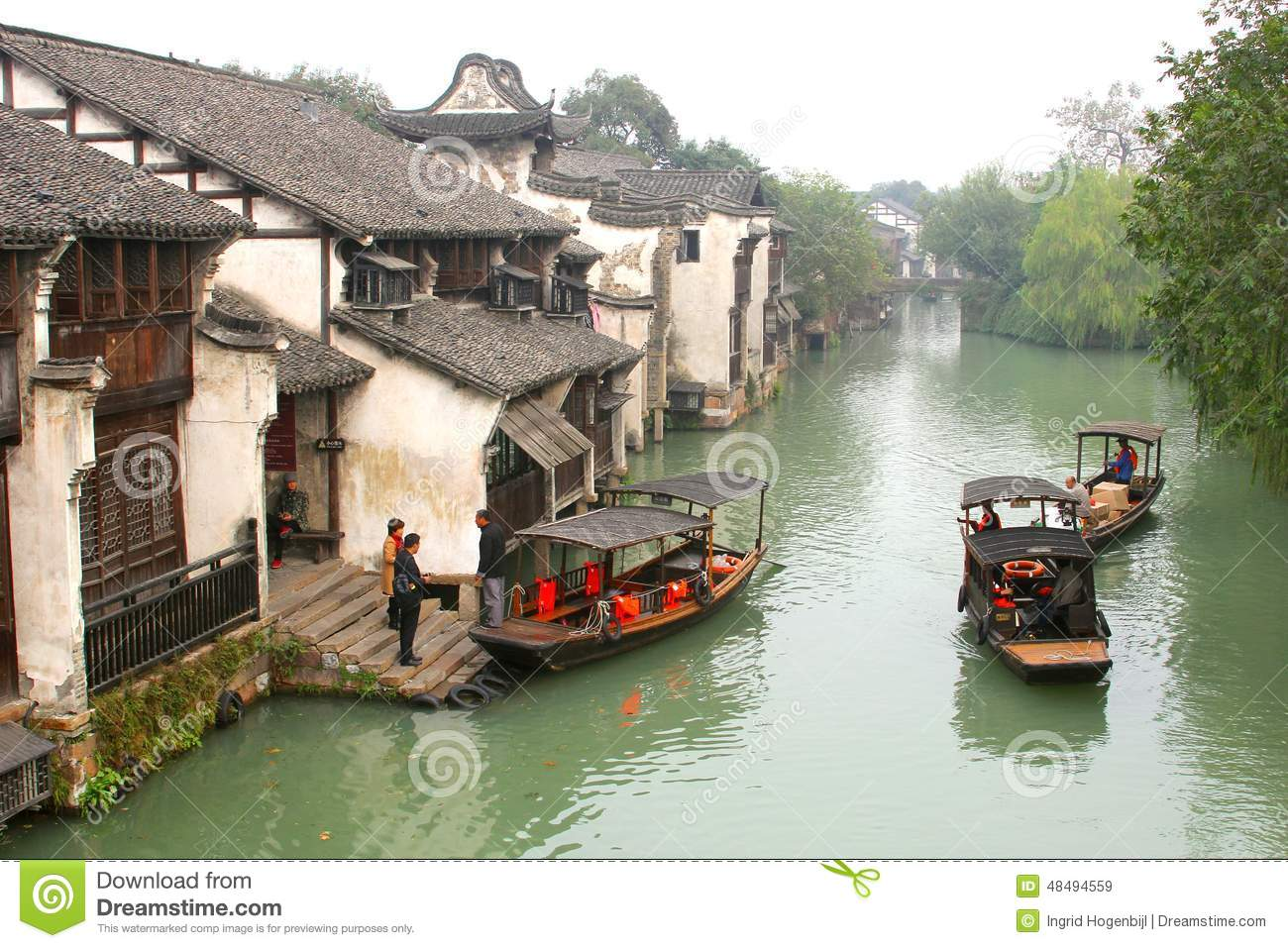 Tourist Canal Boats In The Ancient Water Town Wuzhen (Unesco.