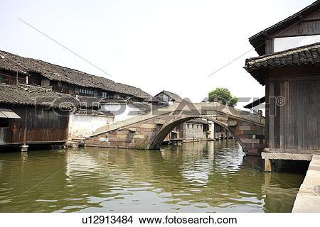 Stock Photo of China, Zhejiang Province, Wuzhen, traditional.