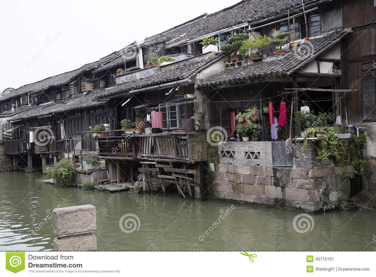 Old House In Water Town Wuzhen Stock Photo.