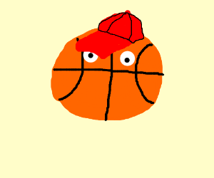 Basketball with eyes and red baseball cap (drawing by Wuzzler).