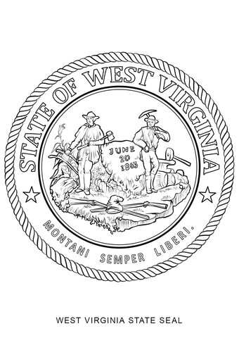 West Virginia State Seal coloring page.