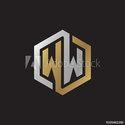Initial letter WW, looping line, hexagon shape logo, silver.