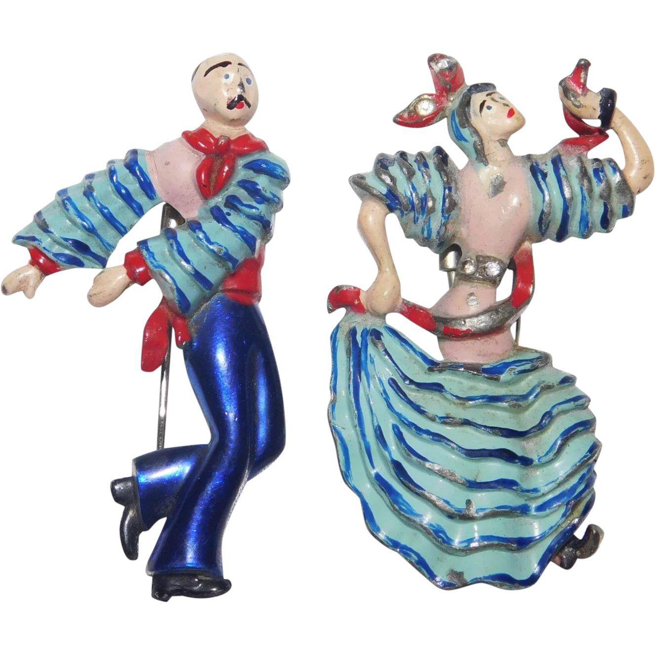 World War II Era Patriotic Enameled Dancing Flamenco Couple.