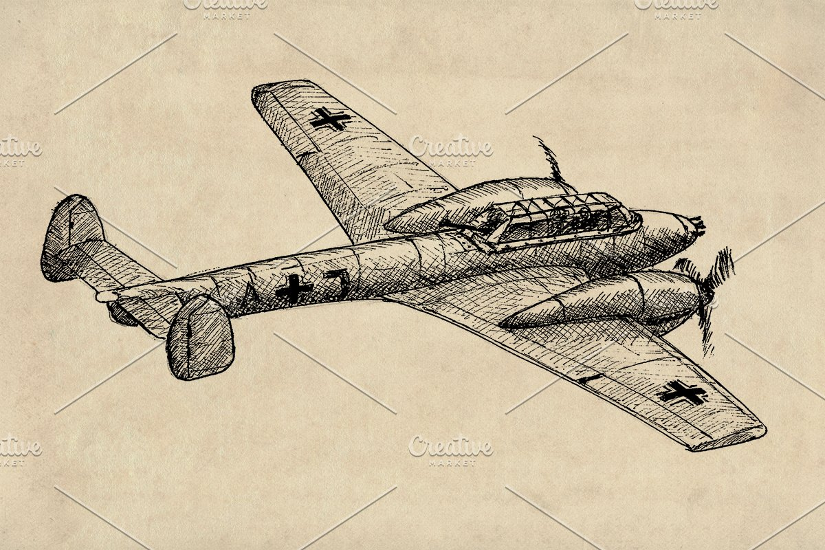 WW2 Fighter Planes German Clipart.