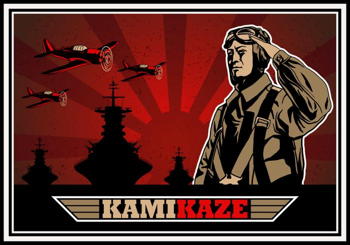 Kamikaze World War II Bomber Vector.
