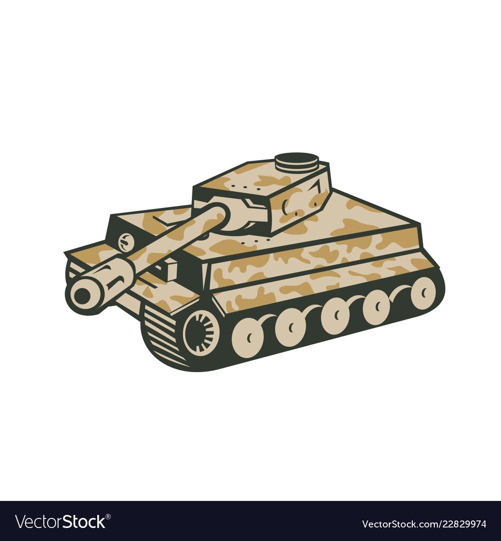 World war two panzer tank retro.