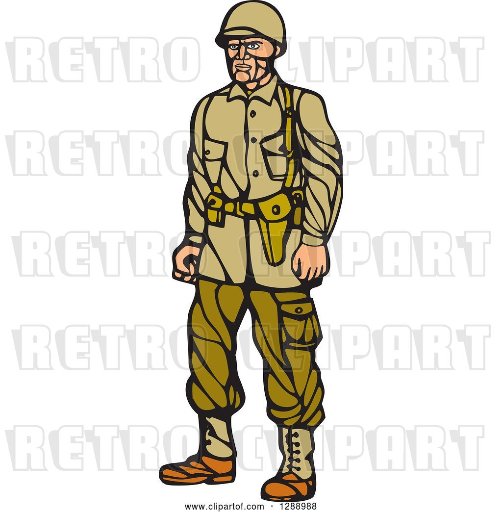 Vector Clip Art of Retro Woodcut Linocut World War Two.