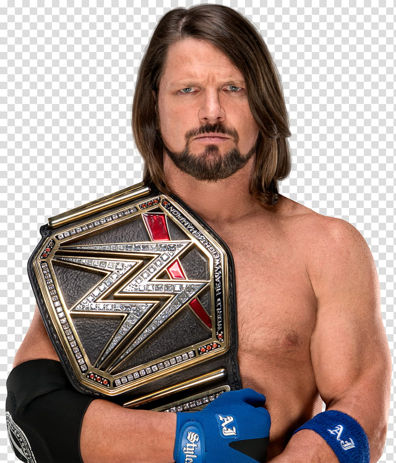 AJ Styles times WWE Champion transparent background PNG.