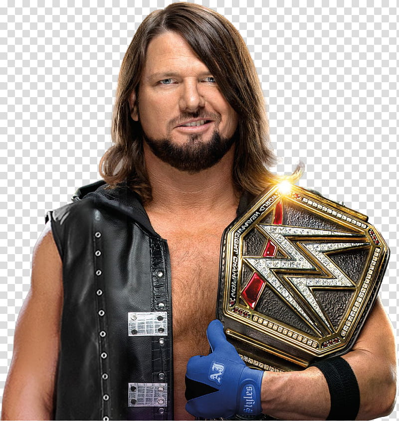 AJ Styles WWE Champion NEW transparent background PNG.