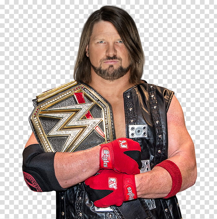 AJ Styles WWE Champion with Red Attire transparent.