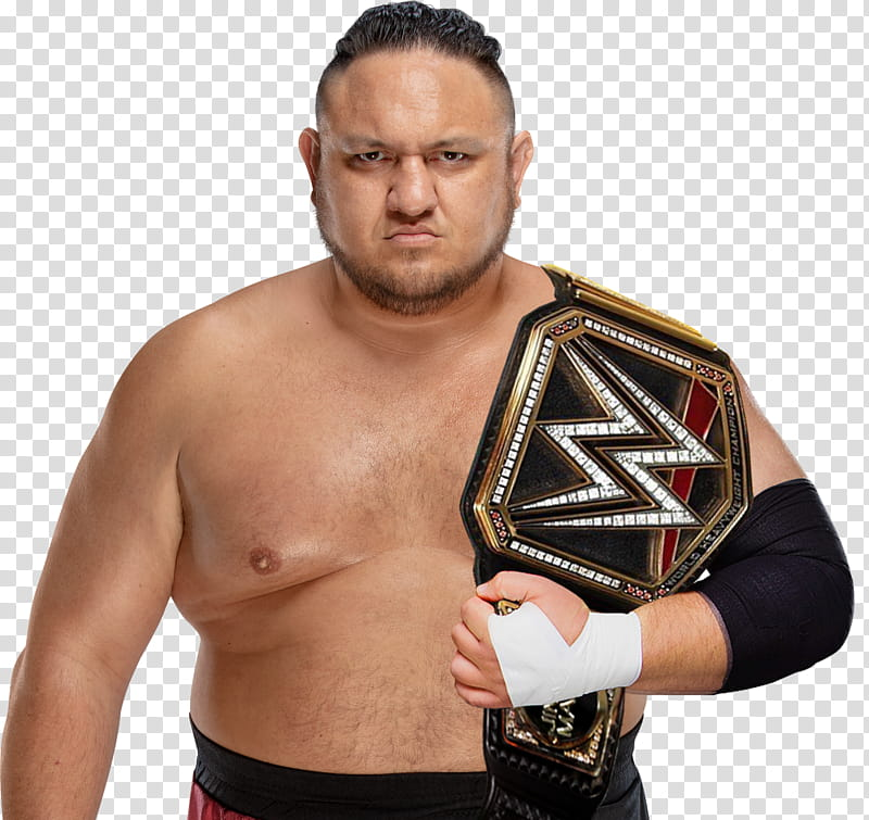 Samoa Joe WWE Champion transparent background PNG clipart.