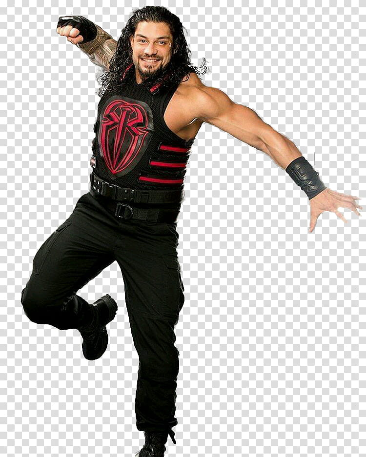 Roman Reigns Superman Punch shoot transparent background PNG.