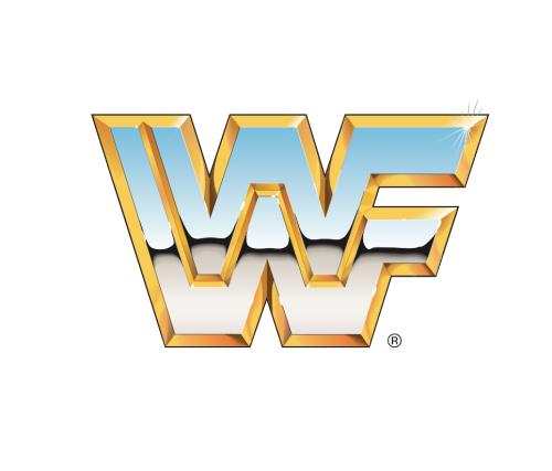 80s wwf wrestling logo chrome effect.