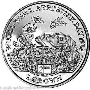 ISLE OF MAN 1 CROWN 1999 BU = WWI ARMISTICE DAY 1918.