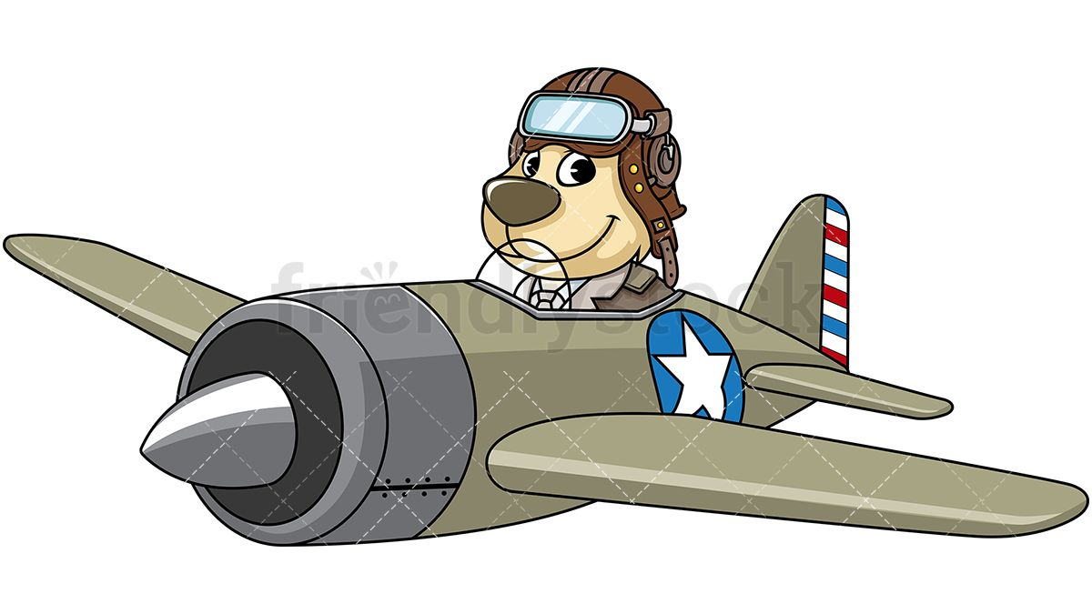 Dog Mascot Character Flying An Airplane in 2019.