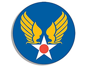 American Vinyl Round Army Air Corps Star and Wings Sticker (Logo Insignia  us).