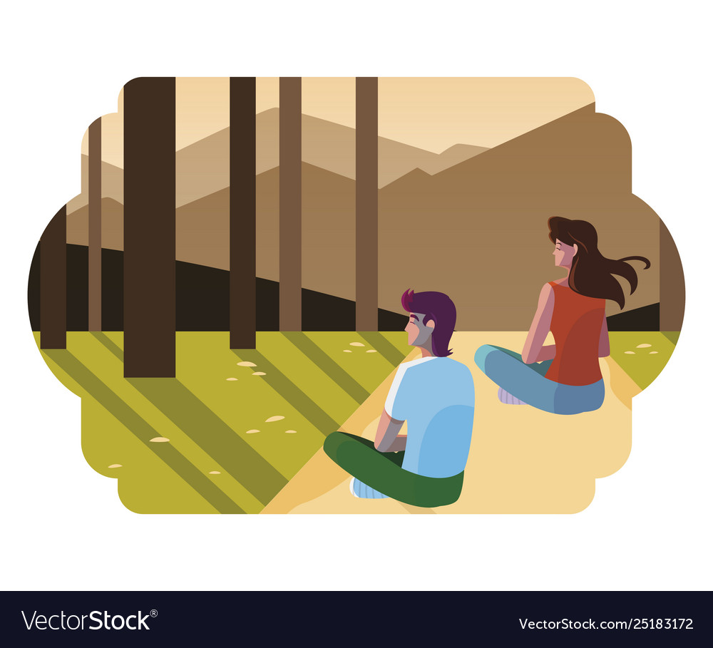 Couple contemplating horizon in forest scene.