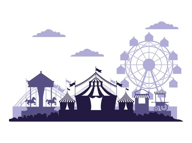 Circus festival fair scenery blue and white colors.