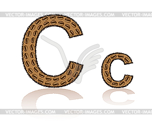 Letter C of coffee beans.