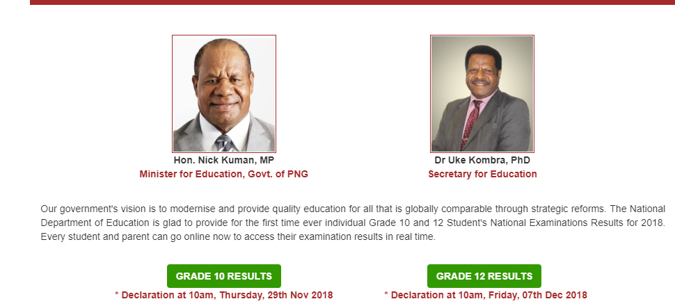 How to view Grade 10 and 12 Examinations Results online in PNG.