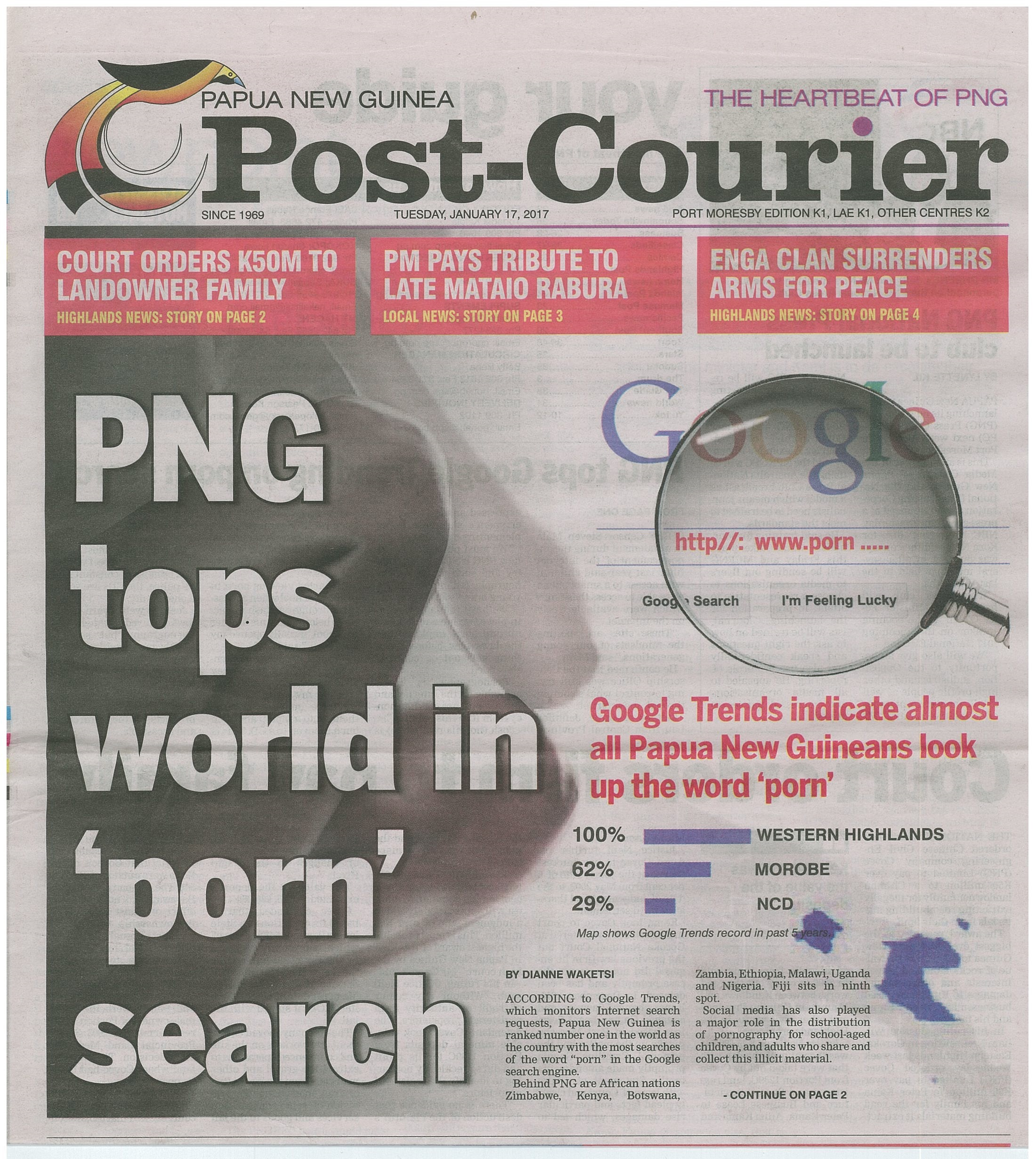 PNG tops world in 'porn' search' Post.