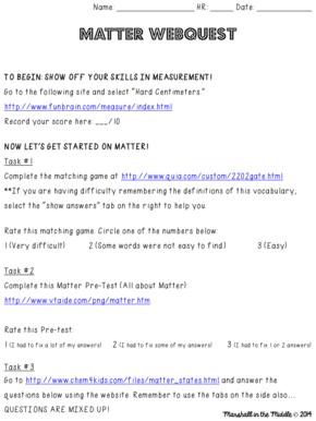Fillable Online Name HR Date Matter Webquest.