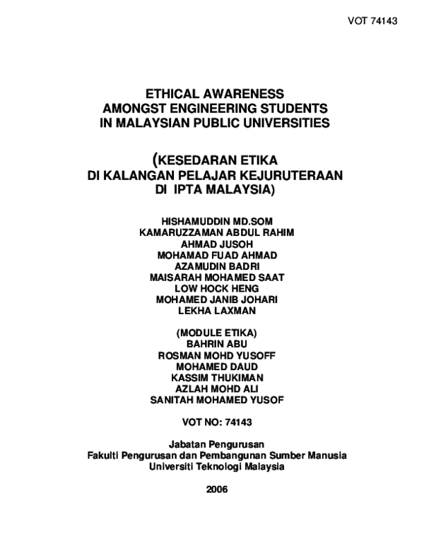PDF) Ethical Awareness Amongst Engineering Students In Malaysian.