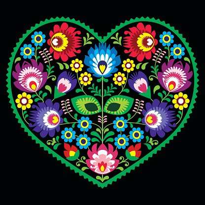 Polish folk art art heart with flowers Clipart Image.