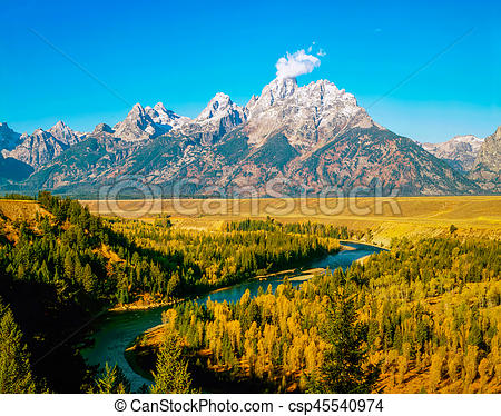 Grand Teton and Snake River in Wyoming.