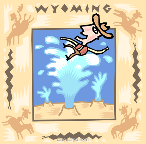 Wyoming with cowboy and old faithful Royalty Free Vector.