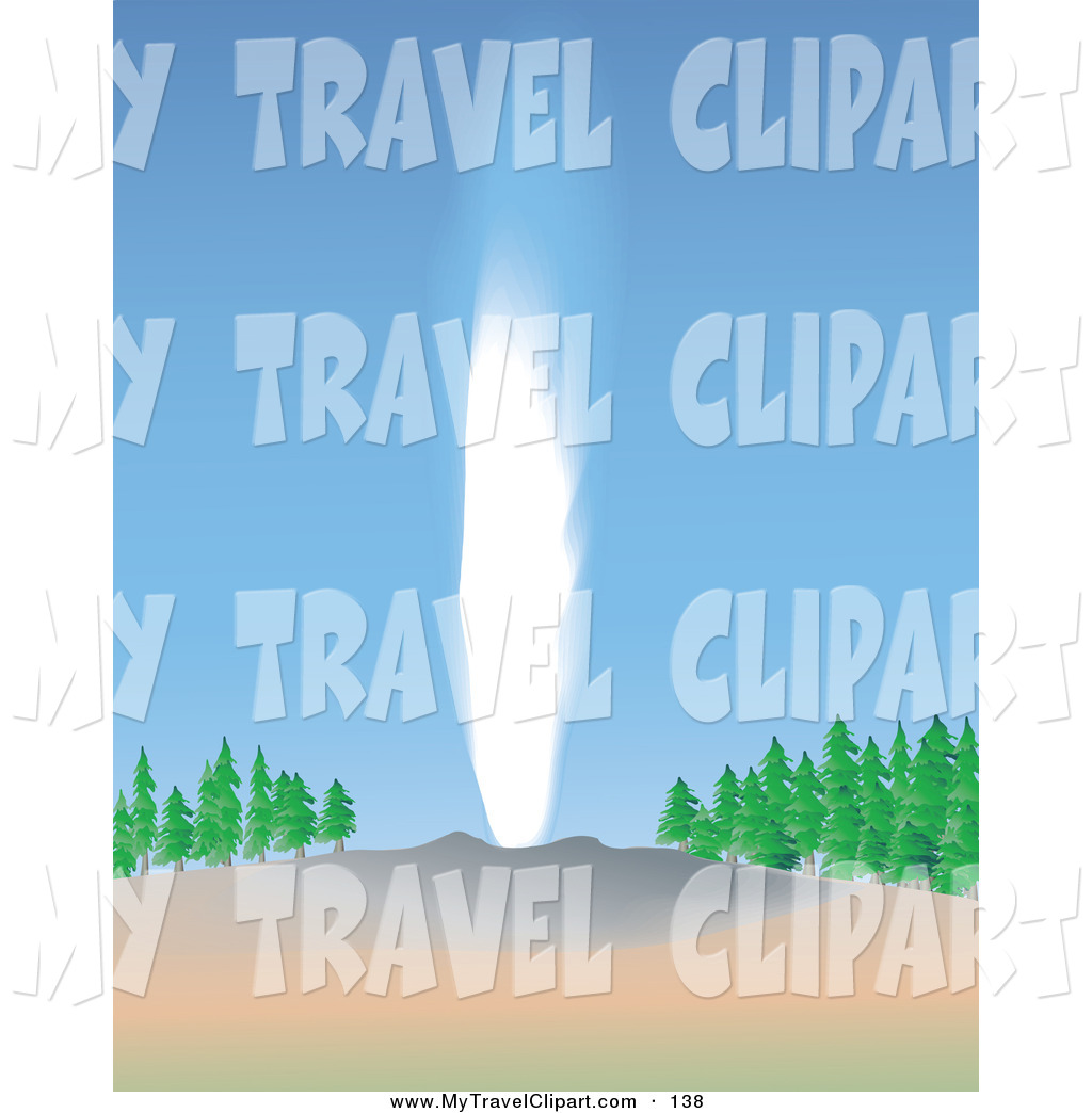 Clipart of an Old Faithful Cone Geyser Shooting Water from.