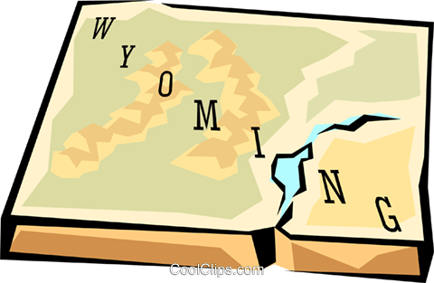 Wyoming state map Royalty Free Vector Clip Art illustration.