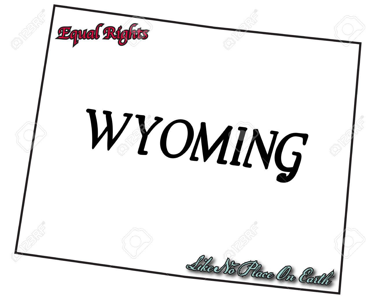 A Wyoming state outline with the motto and slogan isolated on...