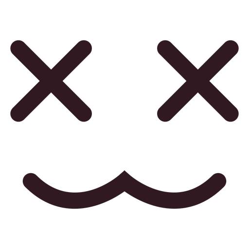 X eyes emoticon face flat.